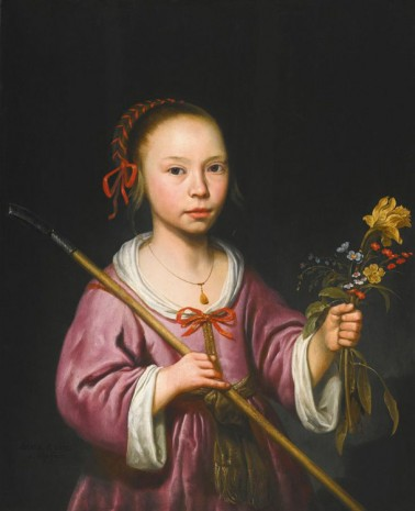 Albert Cuyp (1620 - 1691), Portrait of a young girl as a shepherdess, holding a sprig of fowers, , Galerie Bob van Orsouw & Partner