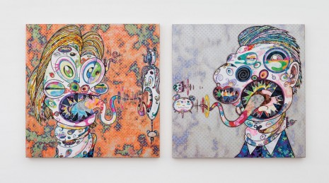 Takashi Murakami, Homage to Francis Bacon (Three Studies for Portrait of George Dyer (on light ground), 2016, Perrotin