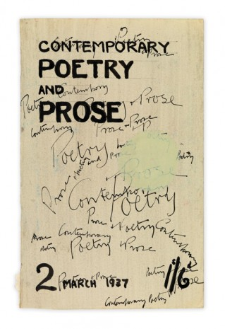 Henry Moore, Cover Design for Contemporary Poetry and Prose, 1937, Hauser & Wirth
