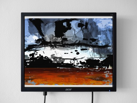 Petra Cortright, Clouds Over the Ocean_with_dark_painting, 2017, 1301PE