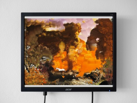 Petra Cortright, Autumn Forestwith_ painted_background, 2017, 1301PE