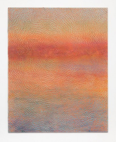 Jennifer Guidi, Sunset (Painted Light Pink Grey Sand SF #1F, Orange Blue Pink Lavender and Yellow), 2017, Almine Rech