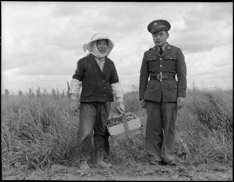 Dorothea Lange, Florin, Sacramento County, California. A soldier and his mother in a strawberry field., 1942, Marianne Boesky Gallery