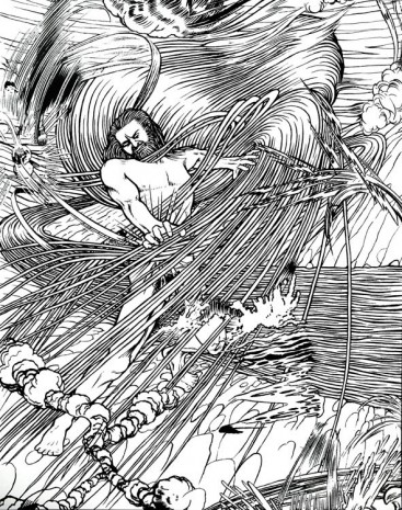Jim Shaw, Wrestling with God #2 (Black and White), 2015 , Massimo De Carlo