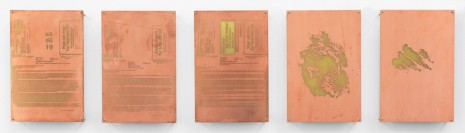Walead Beshty, Body Print (Azithromycin 250 mg Dose Pack, Lorazepam 1 mg Tablet, Metronidazole Topical 0.75% GL, Lower Rib Cage and Attending Soft Tissues, Left Metacarpophalangeal Joint and Attending Soft Tissues), 2017, Petzel Gallery