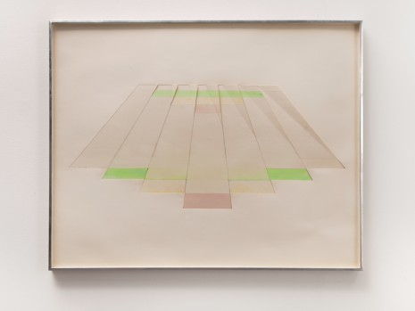 Richard Smith, Seven Tan Shafts with Pink, Green, Orange, Mauve bases, 1968 , Galerie Gisela Capitain