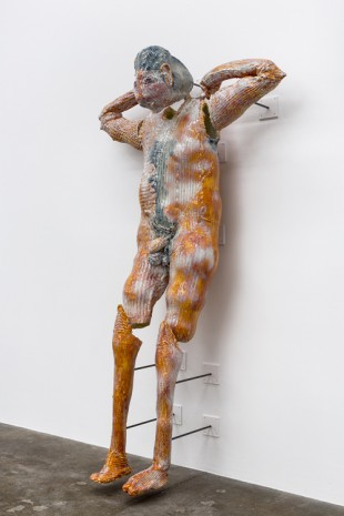 Christian Holstad, Showering Figure (Orange), 2017, Andrew Kreps Gallery