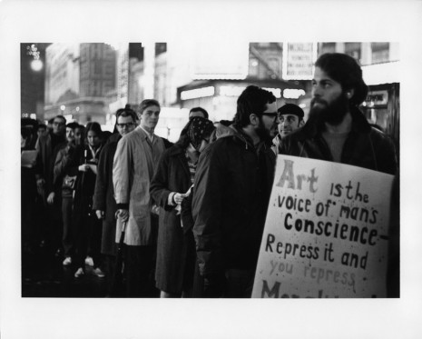 Peter Moore, March for Freedom of Expression, New York, Protesters in a Line, 1964, Paula Cooper Gallery
