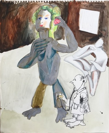 Sofi Brazzeal, Untitled (woman with flower, doctor and figure), 2017, Martos Gallery