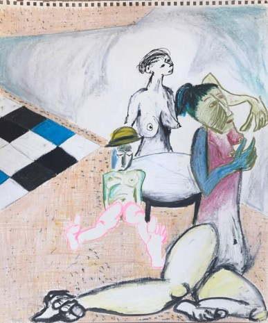 Sofi Brazzeal, Untitled (three figures and table), 2016 , Martos Gallery