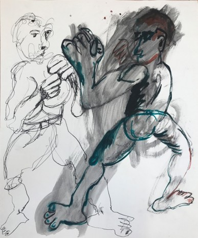 Sofi Brazzeal, Untitled (figures fighting), 2016 , Martos Gallery