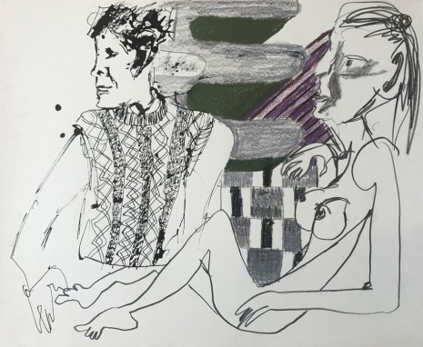 Sofi Brazzeal, Untitled (figures with knit sweater and pattern), 2016 , Martos Gallery