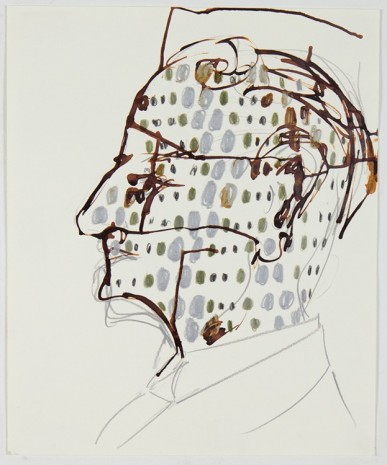 Sofi Brazzeal, Untitled (man's face, dots), 2016, Martos Gallery