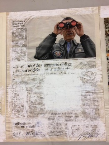 Joao Felino, El President del Estats Units, from the series newspaper painting, 2012, Cristina Guerra Contemporary Art