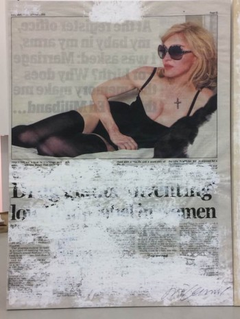 Joao Felino, Madonna,  from the series newspaper painting, 2016, Cristina Guerra Contemporary Art