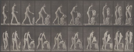Eedweard Muybridge, Nude Study with Clothes, 1880, Galerie Krinzinger