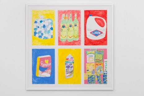 Tschabalala Self, Ice, Presidente, Clorox, Pampers, Fabuloso, and Lotto Study, 2017, Pilar Corrias Gallery