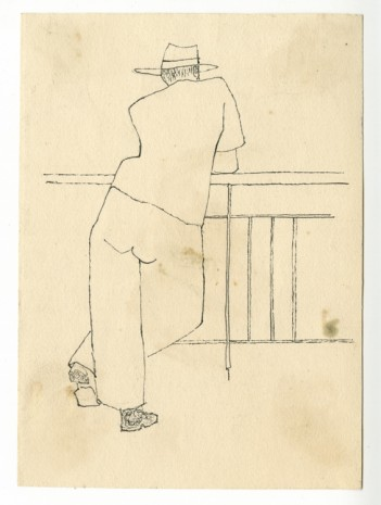 Alex Katz, Man with Hat Leaning on Balcony, c. 1940s , Timothy Taylor
