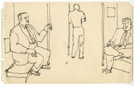 Alex Katz, Three Men on the Subway, c. 1940s, Timothy Taylor
