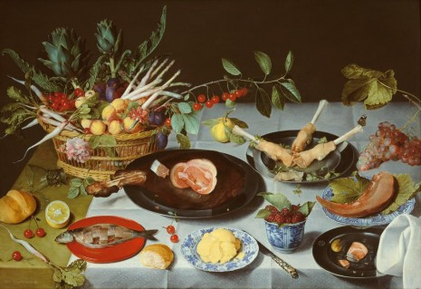 Jacob Van Hulsdonck, A Still Life of a laid Table, with Plates of Meat and Fish and a Basket of Fruit and Vegetables, c. 1615 , Hauser & Wirth Somerset