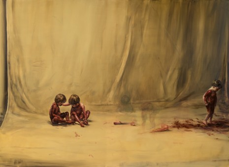 Michaël Borremans, Fire from the Sun (Three Figures, Two 1-2 Limbs), 2017 , David Zwirner