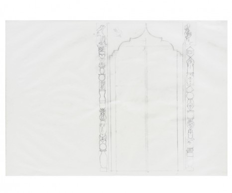 Katharina Wulff, 4 sketches for door with Mosharabia, 2017, Galerie Buchholz