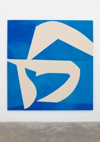Sarah Crowner, Sliced Shapes, Blue Background, 2018 , Casey Kaplan
