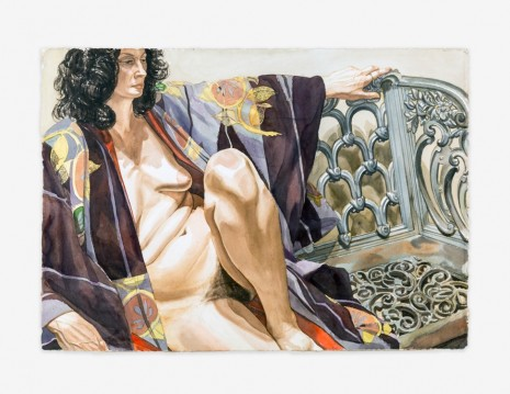 Philip Pearlstein, Model in Plum-Colored Kimono Seated on an Iron Bench, 1978, Venus Over Manhattan