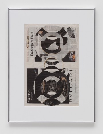 Walead Beshty, Blind Collage (Three 180° Rotations, The New York Times International Edition Distributed with The Japan Times, Thursday, March 23, 2017), 2017, Regen Projects