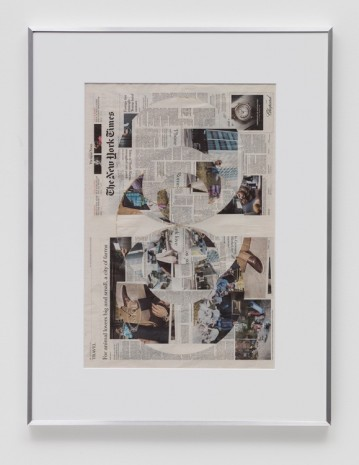 Walead Beshty, Blind Collage (Four 180° Rotations, The New York Times International Edition Distributed with The Japan Times, Friday, March 24, 2017), 2017, Regen Projects