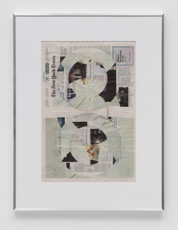 Walead Beshty, Blind Collage (Two 180° Rotations, The New York Times International Edition Distributed with The Japan Times, Wednesday, March 22, 2017), 2017, Regen Projects