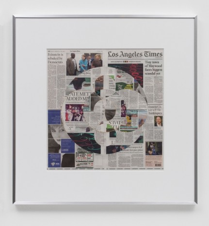 Walead Beshty, Blind Collage (Three 180° Rotations, Los Angeles Times, Monday, February 26, 2018), 2018 , Regen Projects