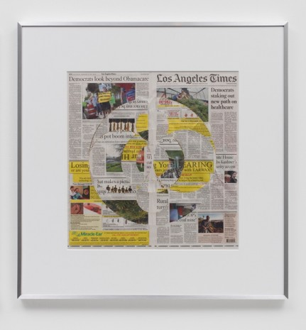 Walead Beshty, Blind Collage (Three 180° Rotations, Los Angeles Times, Wednesday, February 28, 2018), 2018 , Regen Projects