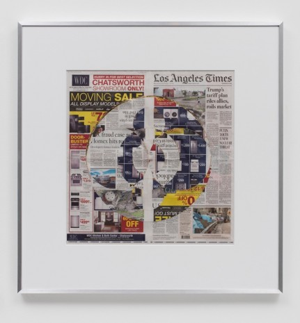 Walead Beshty, Blind Collage (Three 180° Rotations, Los Angeles Times, Friday, March 2, 2018), 2018 , Regen Projects