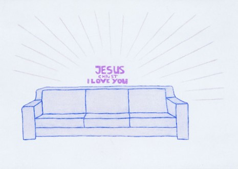 Lily Van der Stokker, Jesus Christ (Remake of '93 marker drawing) design for wall painting with couch, 2008, Air de Paris
