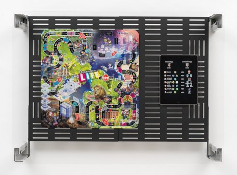 Simon Denny, Crypto Futures Game of Life Board Overprint Collage: zAPPed, 2018, Galerie Buchholz