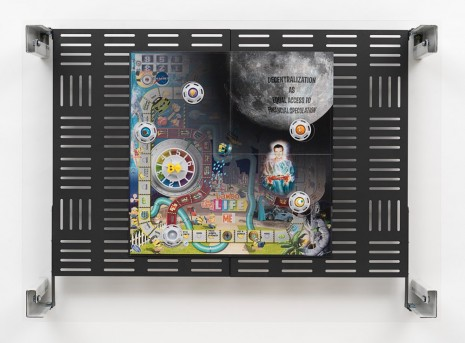 Simon Denny, Crypto Futures Game of Life Overprint Collage: Despicable Me, 2018, Galerie Buchholz