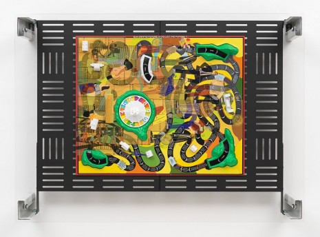 Simon Denny, Crypto Futures Game of Life Board Overprint Collage: 1960, 2018, Galerie Buchholz