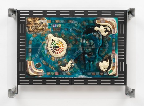 Simon Denny, Crypto Futures Game of Life Board Overprint Collage: Pirates of the Caribbean Dead Man's Chest, 2018, Galerie Buchholz