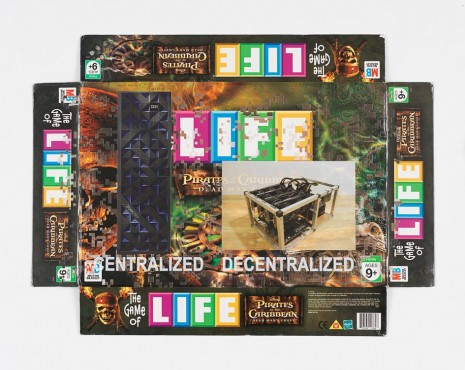 Simon Denny, Centralized vs Decentralized Conway's Game of Life Box Lid Overprint: Pirates of the Caribbean Dead Man's Chest, 2018, Galerie Buchholz