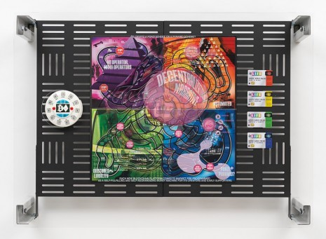 Simon Denny, Crypto Futures Game of Life Board Overprint Collage: Twists and Turns, 2018, Galerie Buchholz