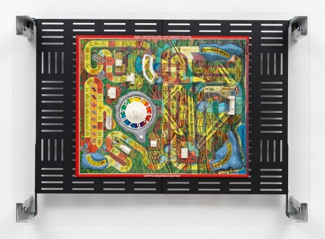 Simon Denny, Crypto Futures Game of Life Board Overprint Collage: 1976 Vintage, 2018, Galerie Buchholz