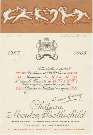 Stephen Prina, galesburg, illinois+ Dorothea Tanning Born: August 25, 1910, Galesburg, Illinois Died: January 31, 2012, New York, New York Château Mouton Rothschild, 1965, Wine Bottle Label Design, 2015, Sprüth Magers