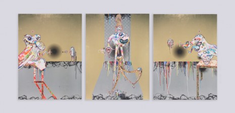Takashi Murakami, Homage to Francis Bacon (Second Version of Triptych (on light ground)), 2016, Perrotin