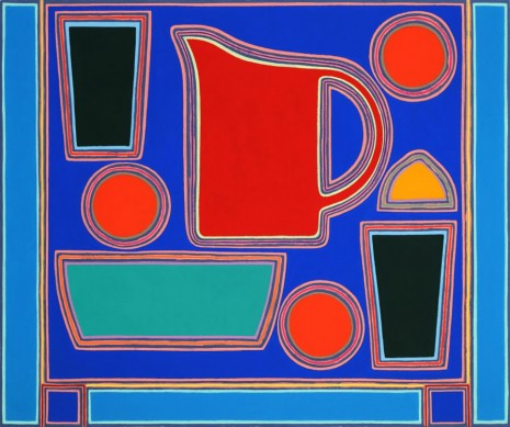 Holly Coulis, Blue and Red Pitcher, Dark Green Cups, 2018 , Simon Lee Gallery