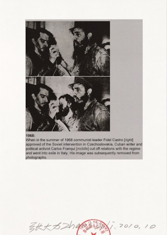 Zhang Dali, Visual Machine 054. 1968 Fidel Castro [right] and Carlos Franqui [middle], who cut off relations with the regime and went into exile in Italy, 2010, Tang Contemporary Art