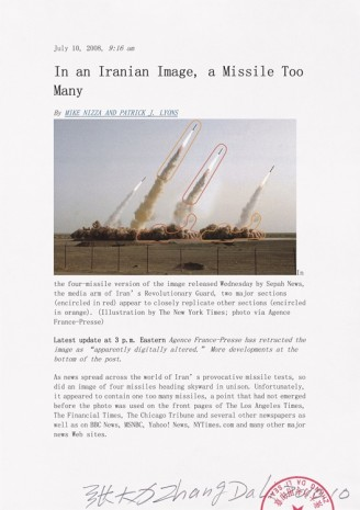 Zhang Dali, Visual Machine 158. 2008 Iranian missiles doctored image appeared on international newspapers and on the web, 2010, Tang Contemporary Art