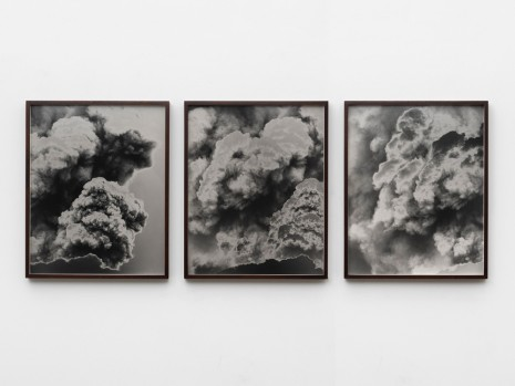 Lisa Oppenheim, CGI Volcano: An enormous eruption fills the screen with plumes of smoke 2017/2019 (Triptych Version II), 2018 , Marianne Boesky Gallery