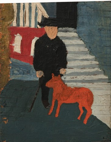 Bob Thompson, Self Portrait with Dog, n.d.