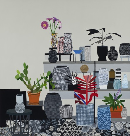 Jonas Wood, Still Life with Cat Vessels, 2012, David Kordansky Gallery